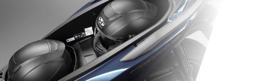 closeup - Honda Forza 300 helmet storage