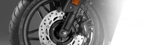 07 closeup - Honda Forza 300 Scooter - Front wheel