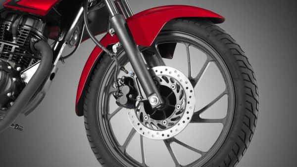 Honda CB 125F road bike red front wheel