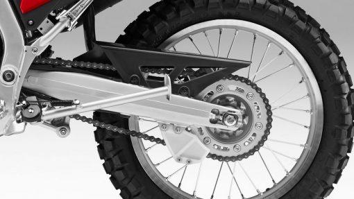 Honda CRF250 motorbike back wheel close