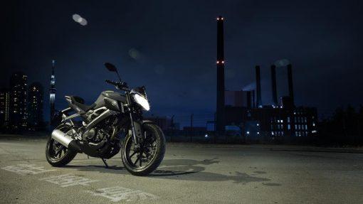 MT 125 motorbike night parked