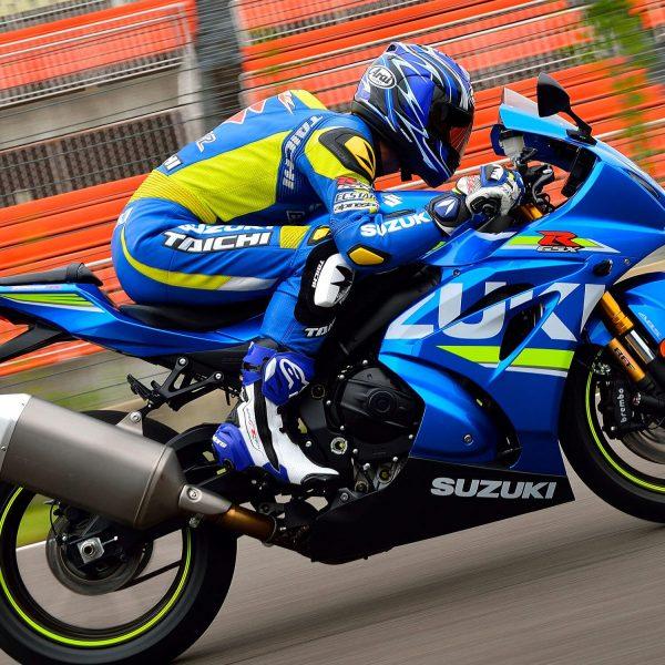 Suzuki GSX R1000R bike with motorcyclist