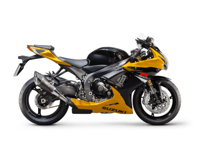 Suzuki GSX R750 sport bike yellow