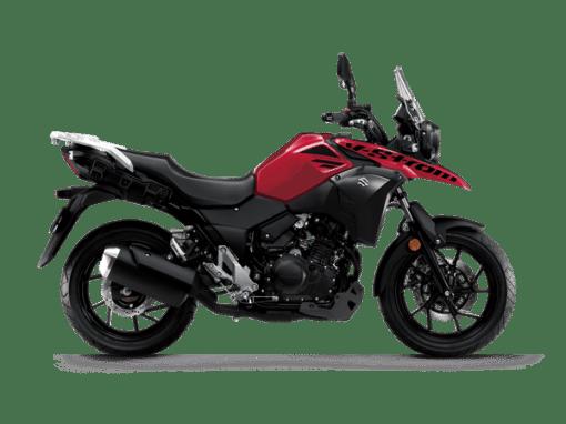 Suzuki V-Strom250 touring motorbike metallic diamond red colour