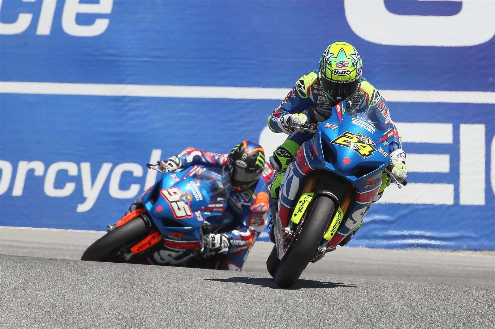 Elias and Hayden at Laguna Seca on Suzuki GSX-R1000