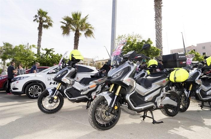 Honda X-ADV scooters parked at the 100th Giro d'Italia
