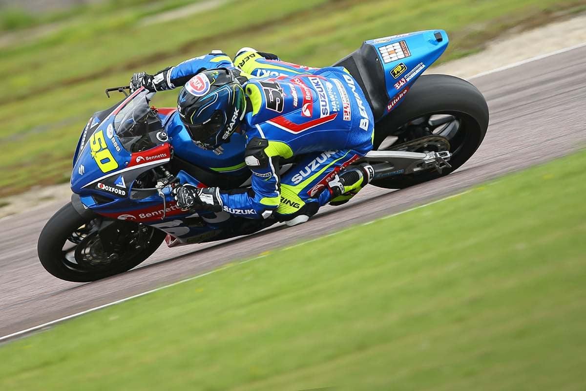 Richard Cooper at Thruxton onboard his GSX-R1000 sport bike