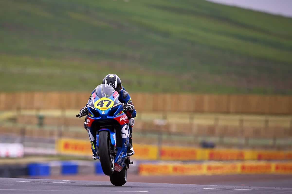 Richard Cooper on Suzuki motorbike at Knockhill