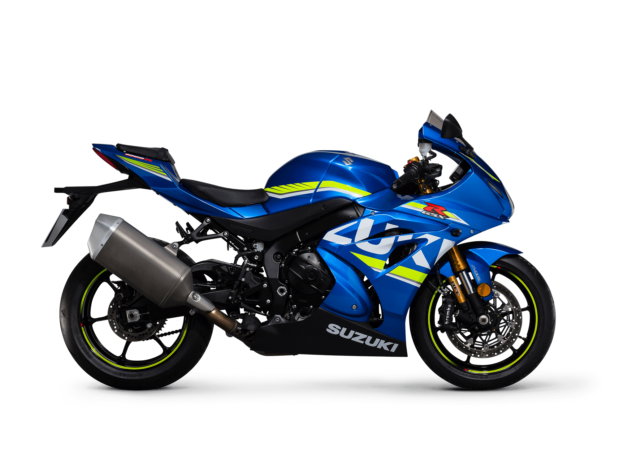 Suzuki GSX-R1000R blue with gold forks - side facing right