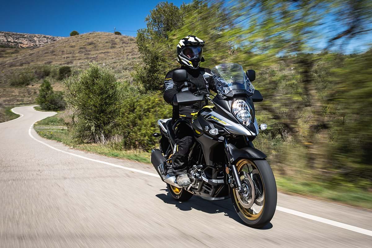 Suzuki V-Strom bike on summer ride