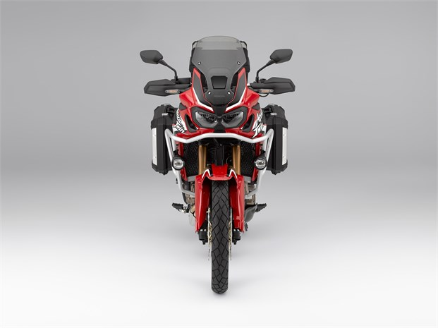 2018 CRF1000L Africa Twin motorbike - front view, red colour