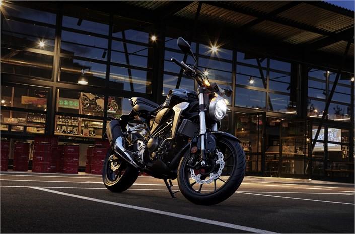 Honda CB300R motorcycle - lights on London