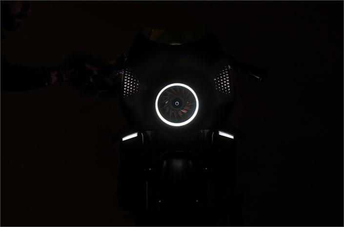 Honda CB4' Interceptor' motorbike - in the darkness