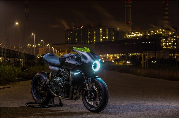 Honda CB4 'Interceptor' motorbike - on night road