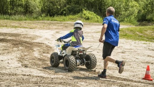 2017 Yamaha YFZ50 ATV Racing Blue in action