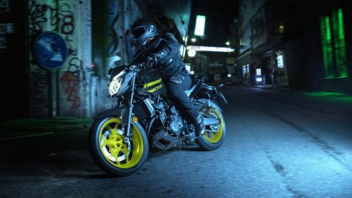 2018 Yamaha MT-03 Night Fluo motorcycle Chelsea in action