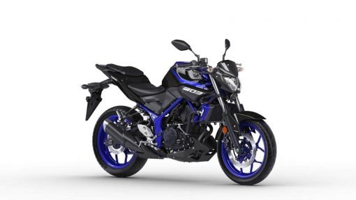 2018 Yamaha MT-03 motorcycle - Yamaha Blue in studio