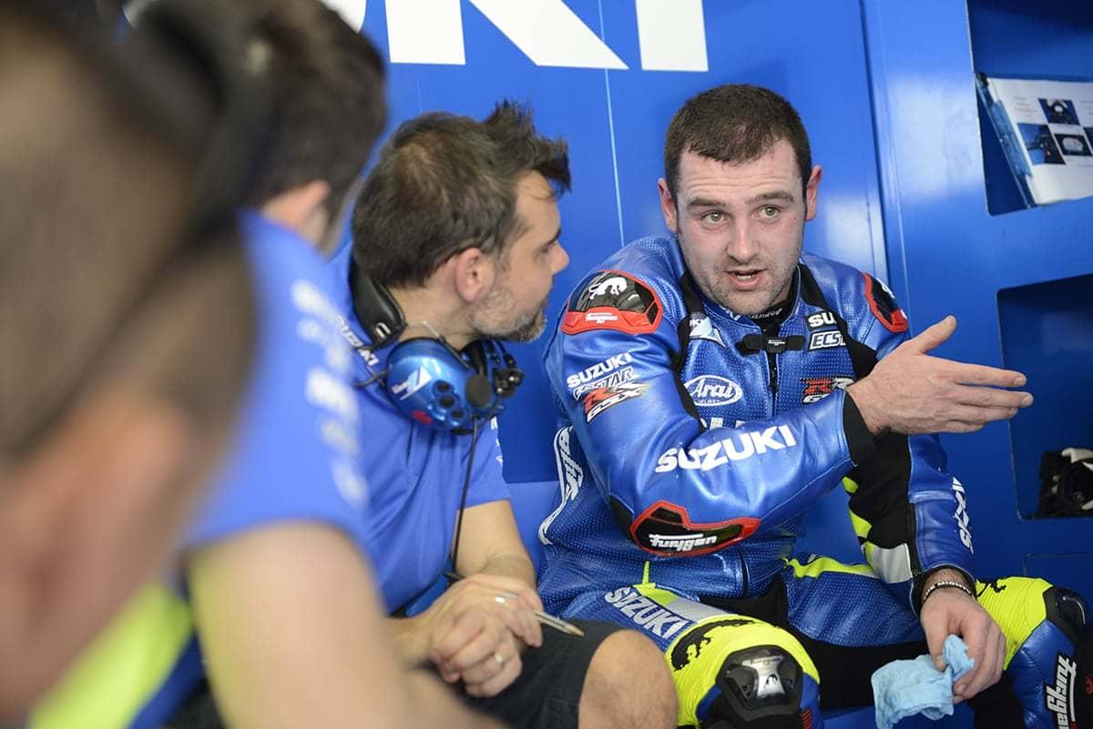 Michael Dunlop after testing Suzuki GSX-RR motorbike