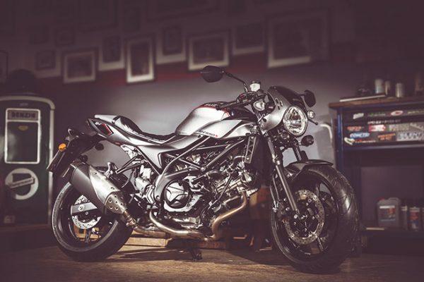 Suzuki SV650X motorbike at home
