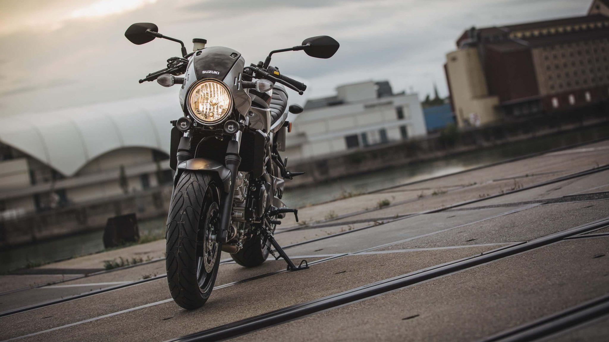 Suzuki SV650X motorcycle parked