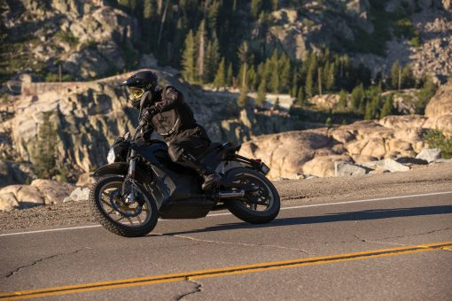 Zero DSR electric dual sport motorcycle - outdoors, turning
