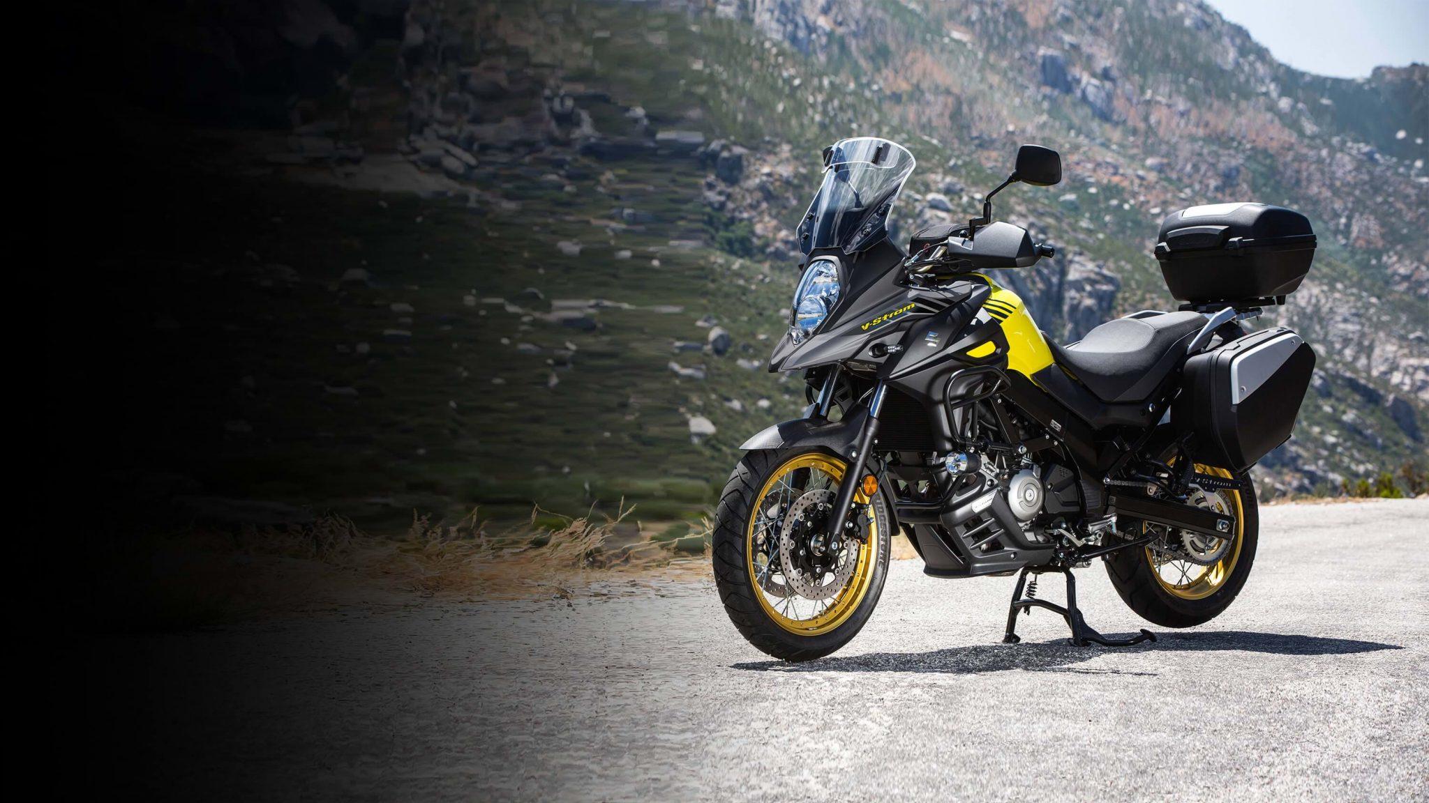 2018 Suzuki V-Strom 650XT touring motorbike parked