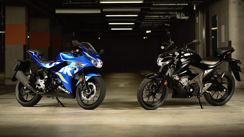 Suzuki GSX-R125 and GSX-S125 motorcycles parked - London