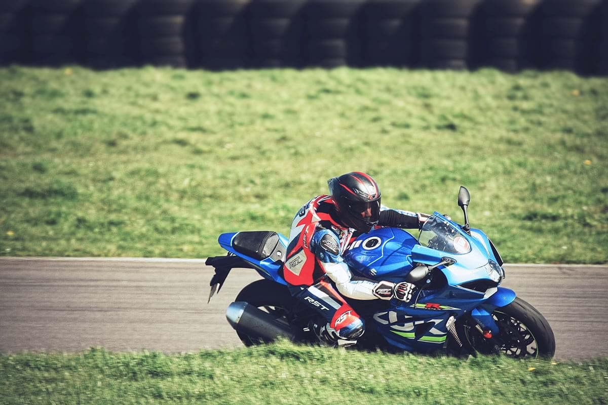 The Suzuki GSX-R1000R sport motorbike with James Whitham - race