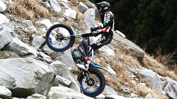 Yamaha TY-E trial electric motorbike - riding on the hill