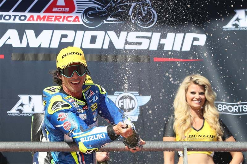 Toni Elias at winners podium