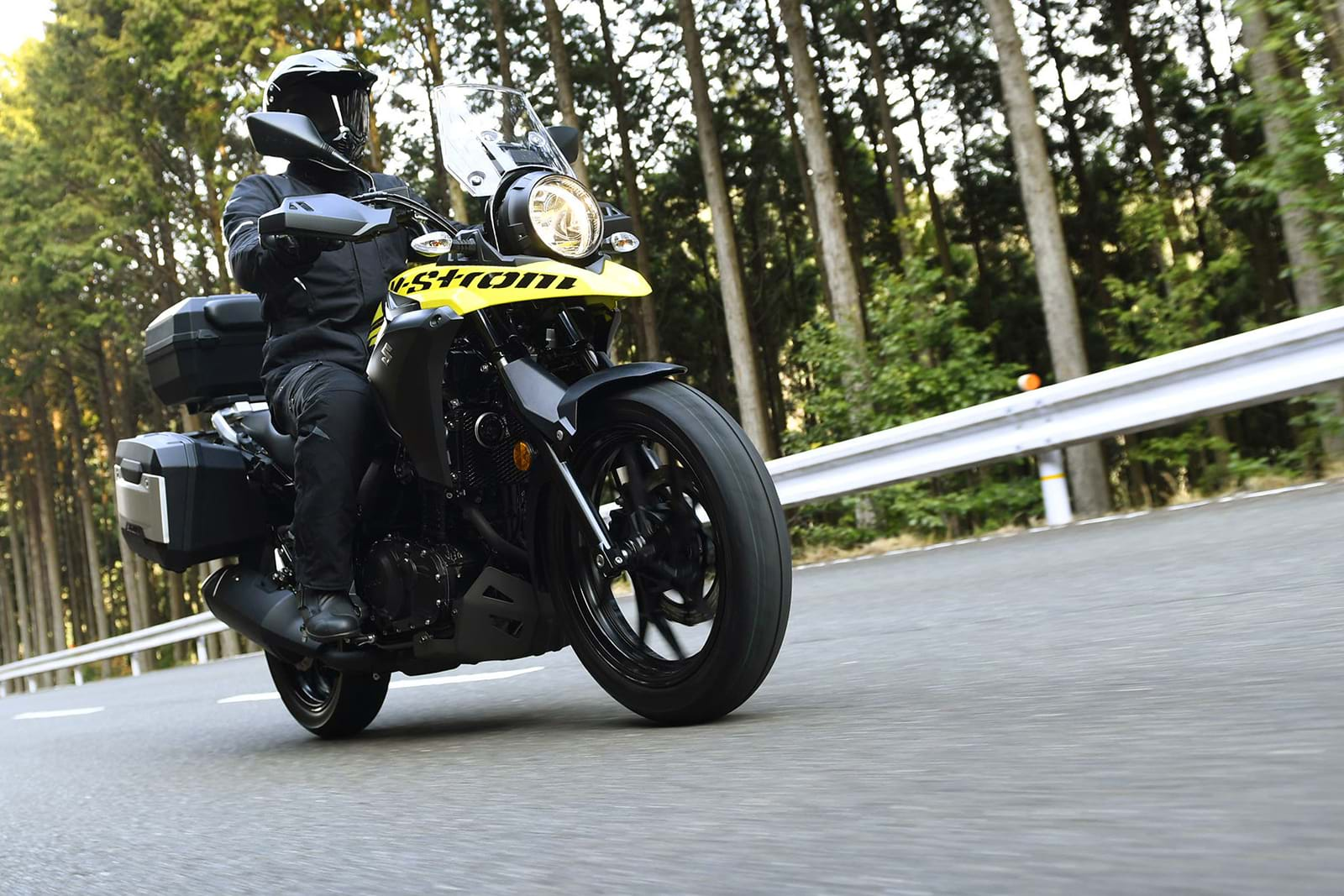 Suzuki V-Strom 250 adventure sport touring motorcycle in action
