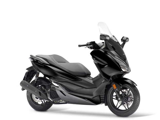 2018 Honda Forza 125 Black/Matt Cynos Grey Metallic scooter in studio